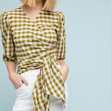 Anthropologie, WHIT Check Print Wrapped Blouse; $248 $