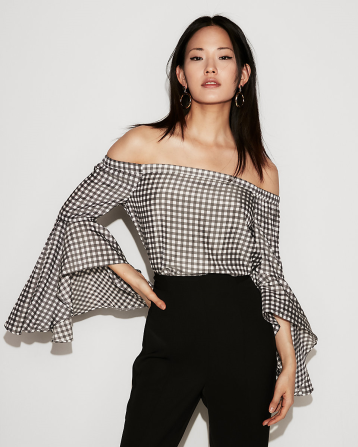 Express, Gingham Off-Shoulder Blouse, $49.90