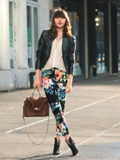 Floral pant, leather jacket and booties! I wish I could tell you exactly where this look came from! If anyone knows please tell me! Love it!